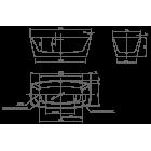 Ванна отдельностоящая KNIFE Cube 0100-084 1700х800х600 (перелив щелевой)